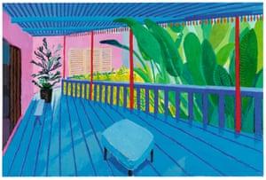 """""""Garden with Blue Terrace"""" 2015 Acrylic on canvas 48 x 72"""""""