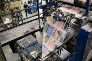 A print run at the Barnsley Chronicle press in September 2018.