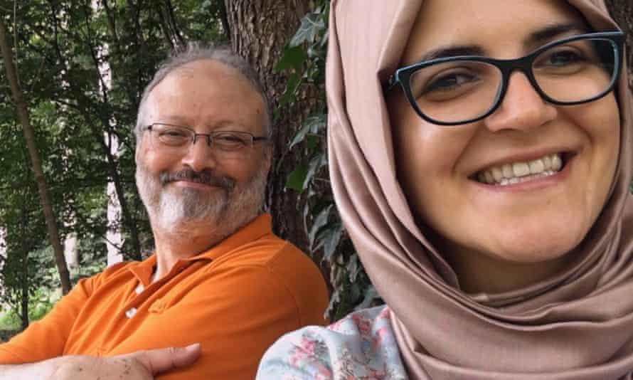 Jamal Khashoggi with his fiancée, Hatice Cengiz.