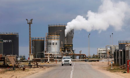 An oil refinery in Zawia in Libya