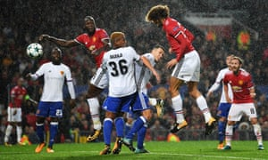 Marouane Fellaini scores the opener.