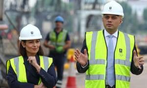 Priti Patel and Sajid Javid at Tilbury docks, August 2019