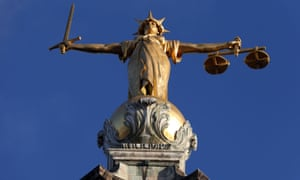 Lady Justice atop the central criminal court building at the Old Bailey, London.
