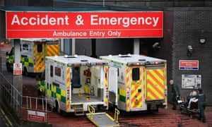Ambulances sit at the accident and emergency at the Glasgow Royal hospital in January 2018.