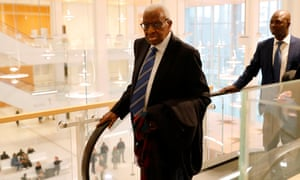 Lamine Diack, the former president of the IAAF, arrives at the court in Paris for his corruption trial
