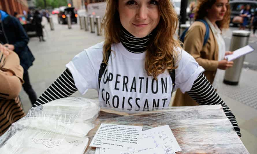 Organisers of Operation Croissant were forced to donate the pastries to a homeless shelter.