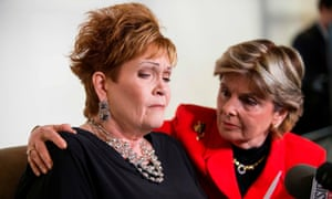 Gloria Allred hugs Beverly Young Nelson as she alleges that Roy Moore sexually assaulted her when she was a minor in Alabama.