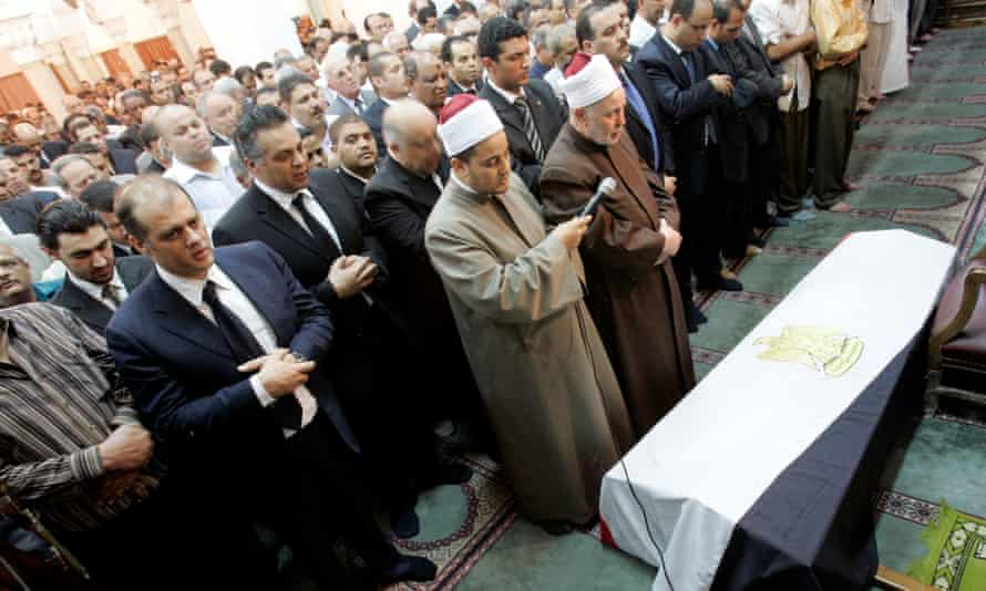 Ashraf Marwan's funeral in Cairo on 1 Jul 2007.