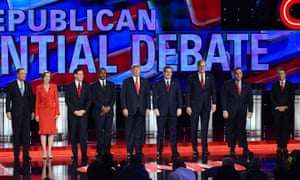 Republican presidential candidates pose before the debate held in Las Vegas in December. A broad field is expected to narrow considerably after the contests in Iowa and New Hampshire in February.