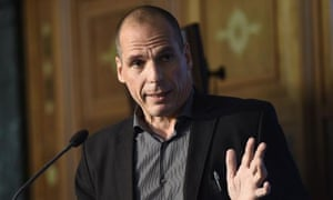 Greek Finance Minister Yaris Varoufakis speaks during the European Business Summit in Brussels on May 7, 2015.