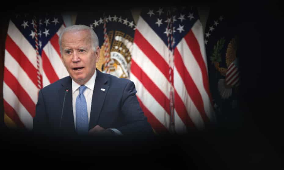 Joe Biden speaks during an event with business leaders in Washington.