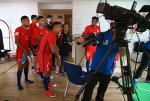 Alexis Sánchez is all smiles with his Chile team-mates.