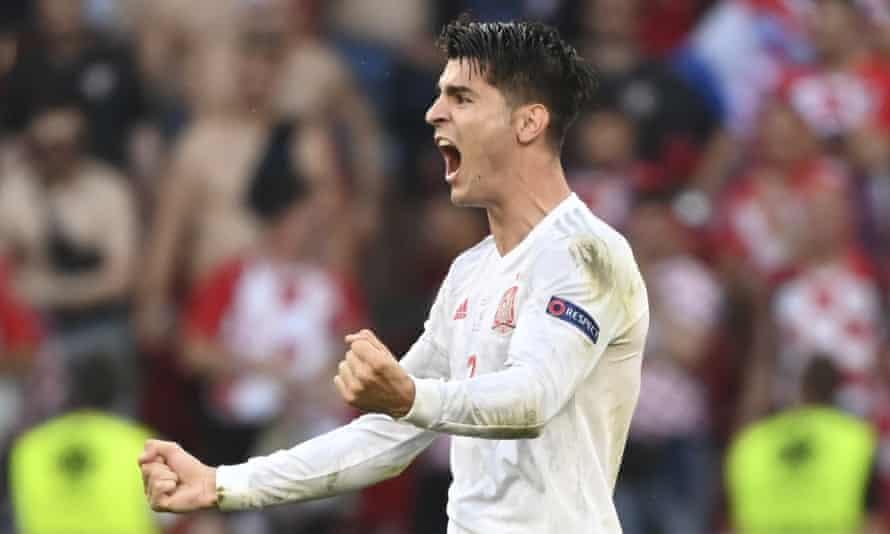 Álvaro Morata celebrates scoring Spain's fourth goal against Croatia