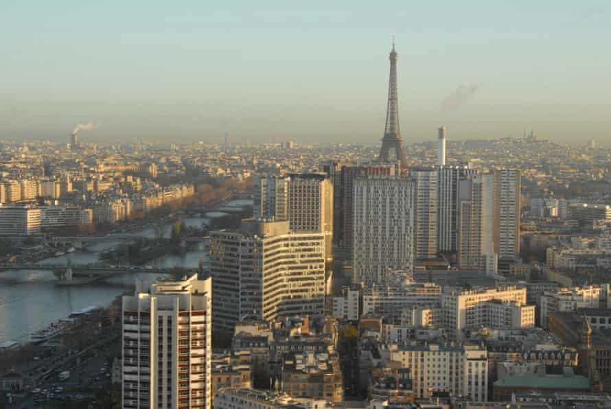 Paris seen from a pollution-monitoring air balloon during climate talks in the city