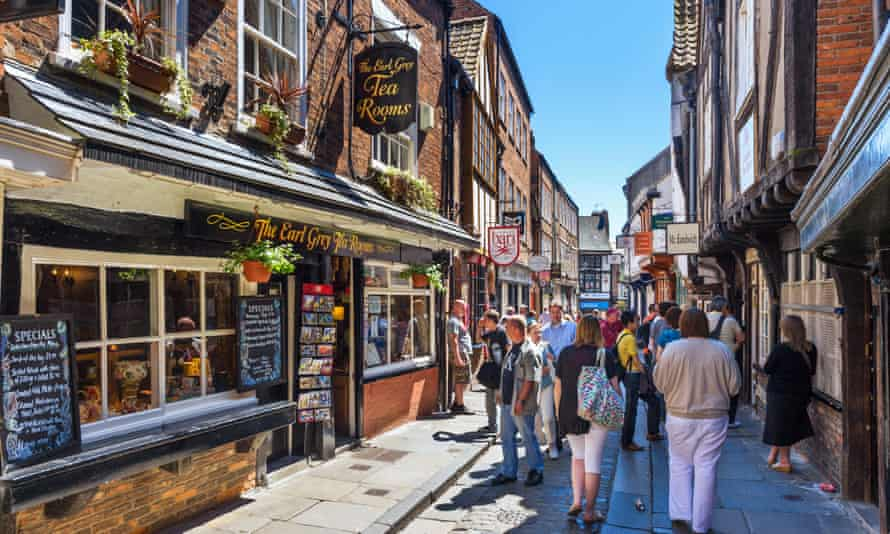 Watch your step: sightseers in historic York.