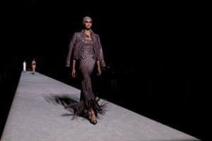 A model wears a Tom Ford design at New York fashion week
