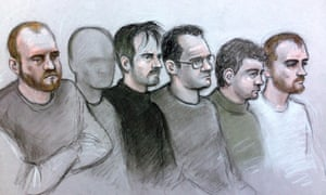 The 22-year-old, who cannot be named, appears, second from the left, with other men accused of being members of National Action.