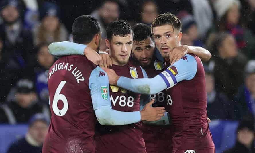 Aston Villa players celebrate Frédéric Guilbert's first-half strike.