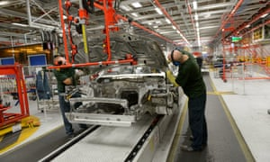 Jaguar Land Rover workers at their site in Castle Bromwich, West Midlands