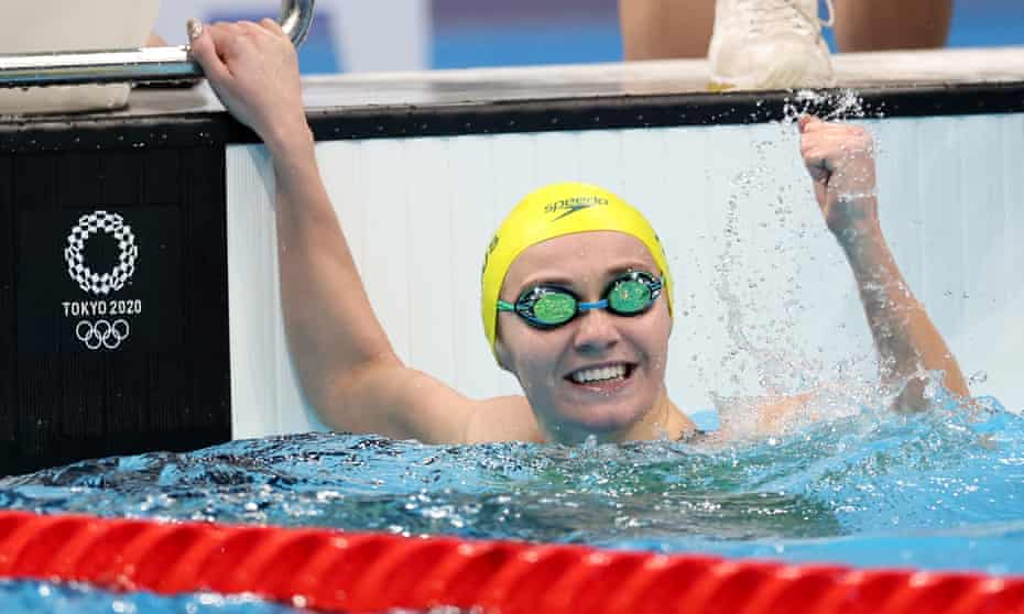 Ariarne Titmus celebrates after breaking an Olympic record in 200m freestyle final on day five of the Tokyo 2020 Olympic Games.