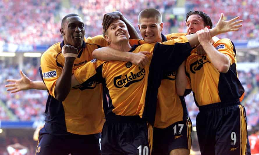 Michael Owen celebrates with Emile Heskey, Steven Gerrard and Robbie Fowler after scoring against Arsenal in the 2001 FA Cup final.