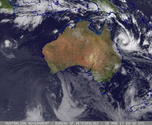 A satellite image showing the cloud/surface composite over Australia as Queensland prepares for Cyclone Debbie.