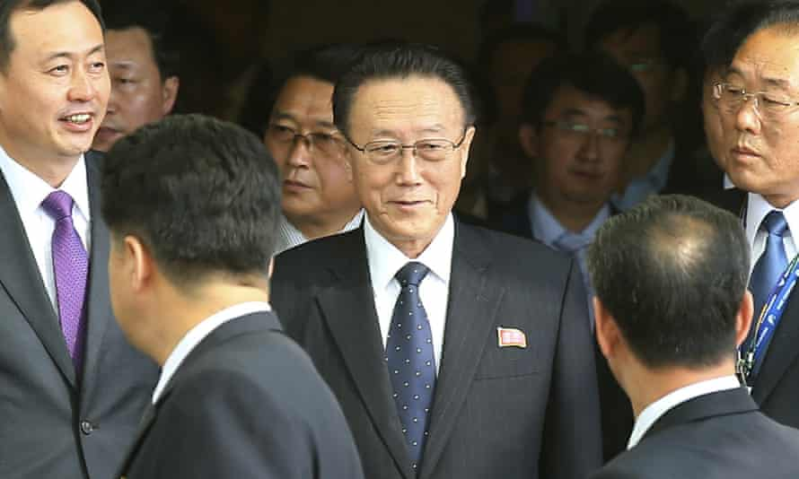 Kim Yang Gon, centre, at Incheon international airport in South Korea in 2014.
