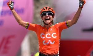 Marianne Vos celebrates winning the second stage in Viù, near Turin.