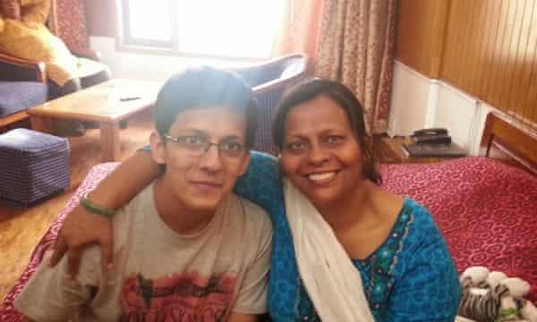 Kakoli with her son, Hriday.