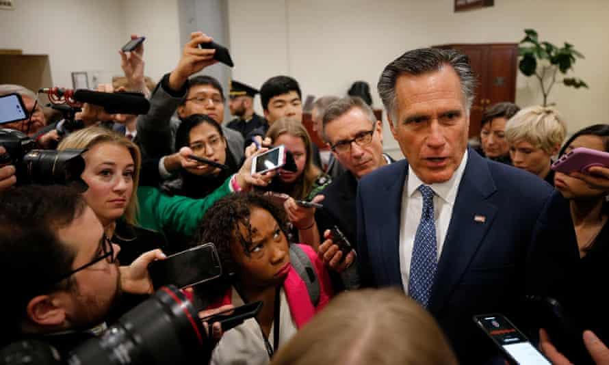 Mitt Romney in Washington on Wednesday. A looming question over the impeachment proceedings is whether centrist senators will side with Democrats over allowing witness testimony.