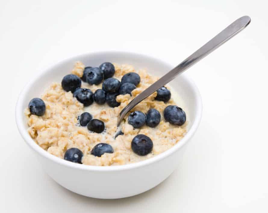 Bowl of porridge with blueberries