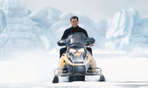 Gadgets galore … Pierce Brosnan on snowmobile in Die Another Day.