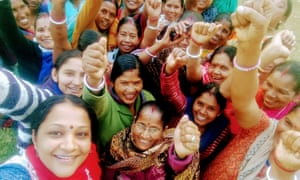 Seema Nair (bottom left) from the Global Human Rights Fund, photographed with members of the Domestic Workers Union in Jaipur.