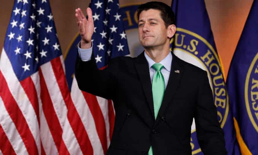 House speaker Paul Ryan speaks to the press