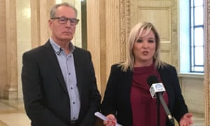 Sinn Féin vice-president Michelle O'Neill with colleague Gerry Kelly speaking in Belfast about being informed of a dissident republican plot against them.