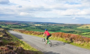 A cyclist near Westerdale in the North York Moors national park.