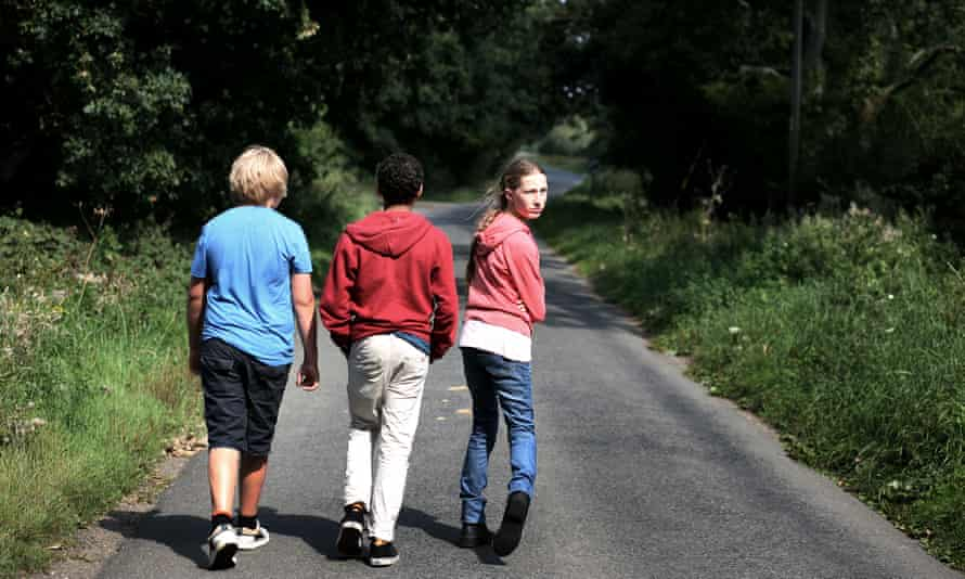 Children walking along path