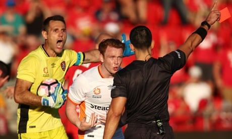 Adelaide nick A-League win over Brisbane after 98th-minute controversy