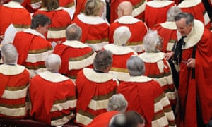 Peers wait in the House of Lords during the state opening of parliament in May, 2012.
