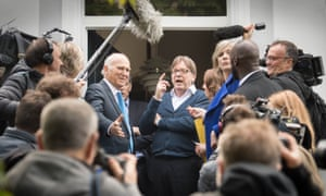 The European parliament's Brexit coordinator Guy Verhofstadt (centre right) with Lib Dem leader Vince Cable (centre left) in London.