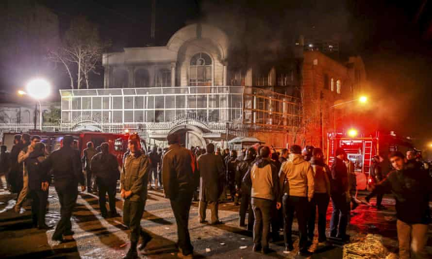 Smoke rises from Saudi Arabia's embassy during a demonstration in Tehran on Saturday.