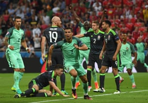 Ronaldo wheels away in celebration.