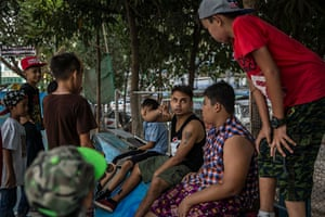A small group of skateboarders manage the park, most of them volunteers. The only paid staff member is Hein, 29 (centre). He helps maintain the park and gives tips to some of the younger aspiring skateboarders.