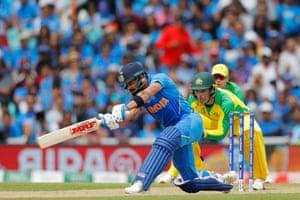 Kohli sends one to the boundary for four.