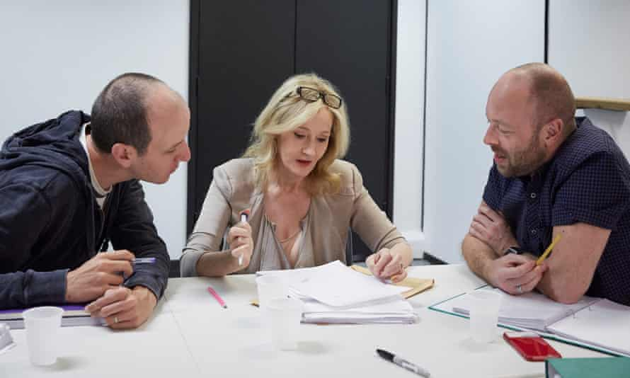John Tiffany, right, with Jack Thorne and JK Rowling. The trio are collaborating on Harry Potter and the Cursed Child.