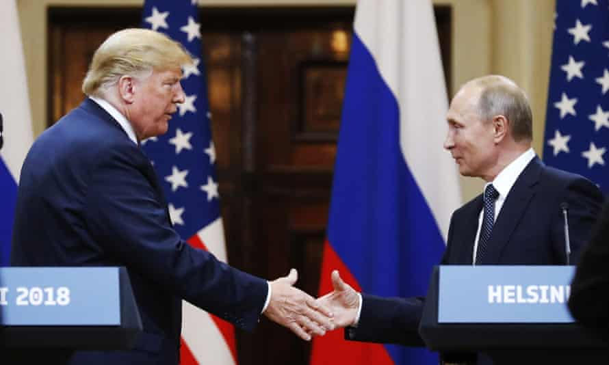 Donald Trump met Russian President Vladimir Putin in the Finnish capital, Helsinki, in 2018. Social media has criticised the US president for thinking Finland was part of Russia.