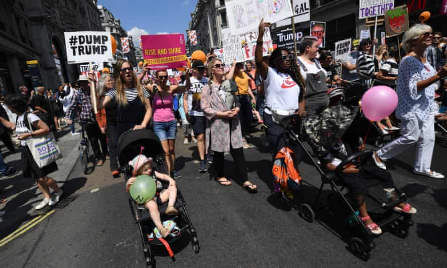 Protesters demonstrating against Trump in London
