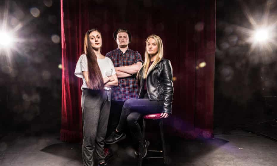Working-class drama students Yasmin Taheri, left, and Lisa-Marie Ashworth, and Tom Stocks, who could not afford to take up his place.