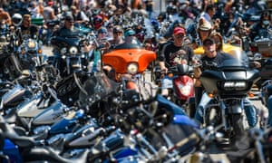 Bikers ride down Main Street during the 80th Annual Sturgis Motorcycle Rally