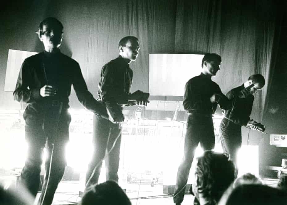 The robots ... Kraftwerk, with Schneider far right.